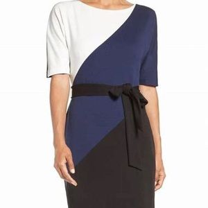 Ellen Tracy Color Block Dress 24W NWT with Belt
